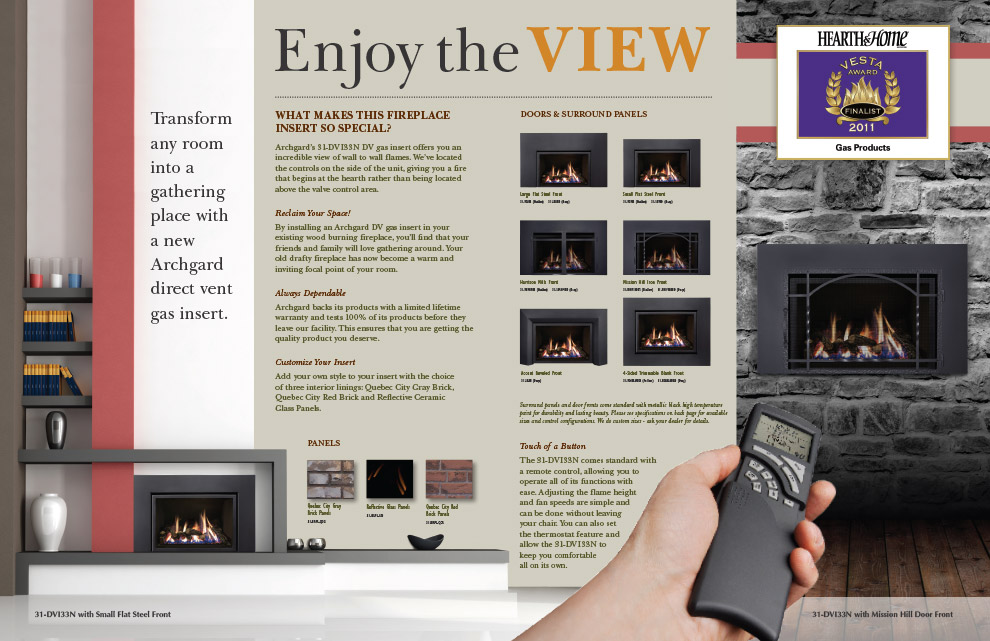 Archgard 31-DVI33N Fireplace Brochure Design (Inside)