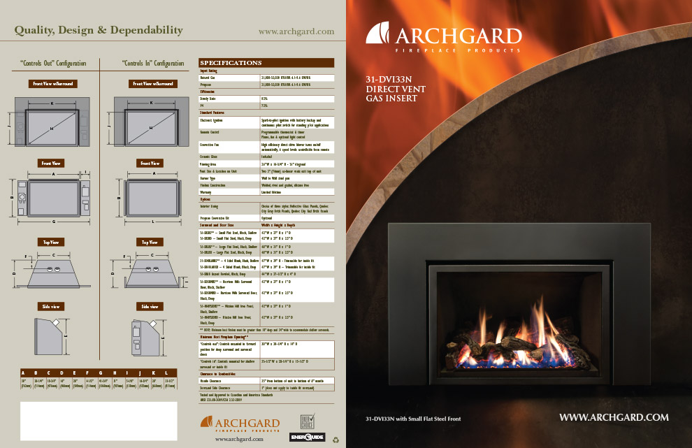 Archgard 31-DVI33N Fireplace Brochure Design (Outside)