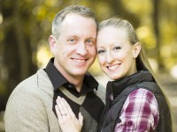 Gary and Courtney Engagement Photo - standing in forest